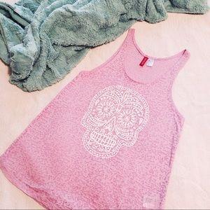 Divided Tops - Divided Skull Pink Sheer Tank Top - S